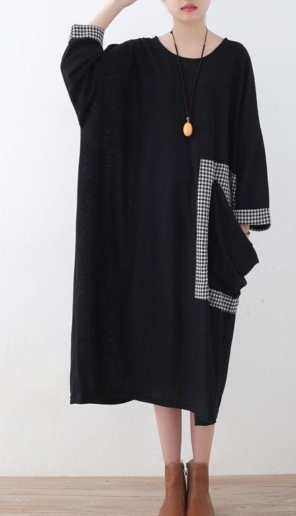 baggy-black-Plaid-casual-O-neck-clothing-dress-vintage-patchwork-dresses2 #blackdresscasual