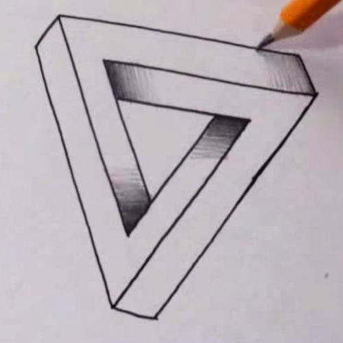 Hoe teken je de onmogelijke driehoek tekenen for Tekenen in 3d