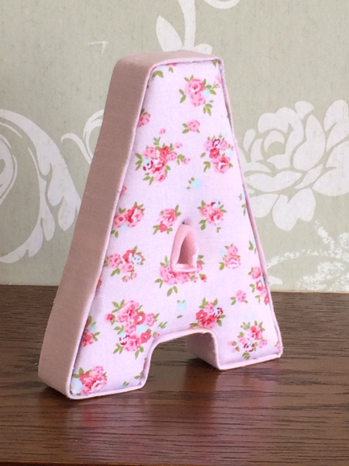 Bedroom Decor Letters vintage shabby chic pink floral fabric letters, girls custom