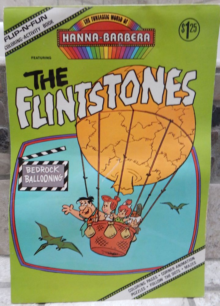 Hanna Barbera Flip-N-Fun Flintstones Coloring Book 1977 Unused Rare Bedrock Ball    eBay