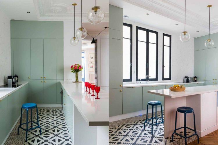 küche pastell minimalistisch skandinavisch zementfliesen mintgrün ...