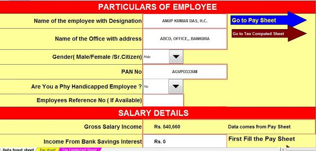 Income Tax Calculator for WBGovt employees for FY2016-17 and