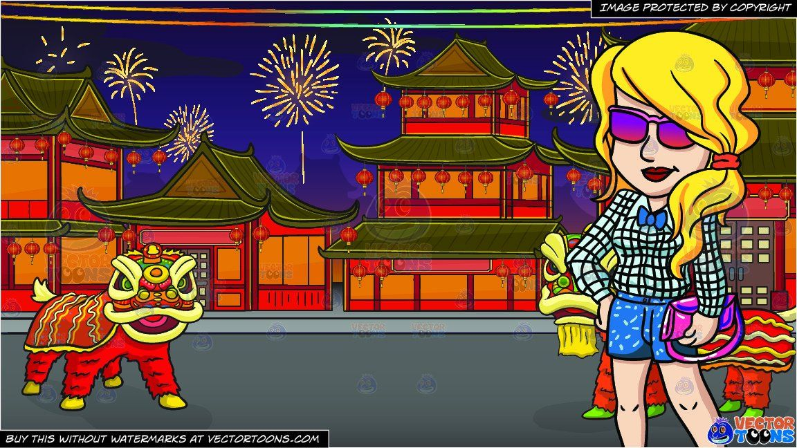 clipart cartoon a chic female hipster and chinese new year background vendor