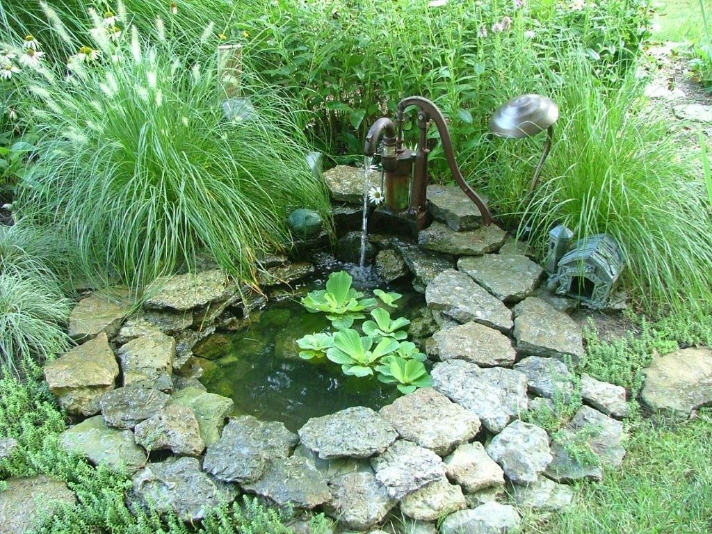 Small pond with a pump fountain sue 39 s garden in ohio for Best small pond pump