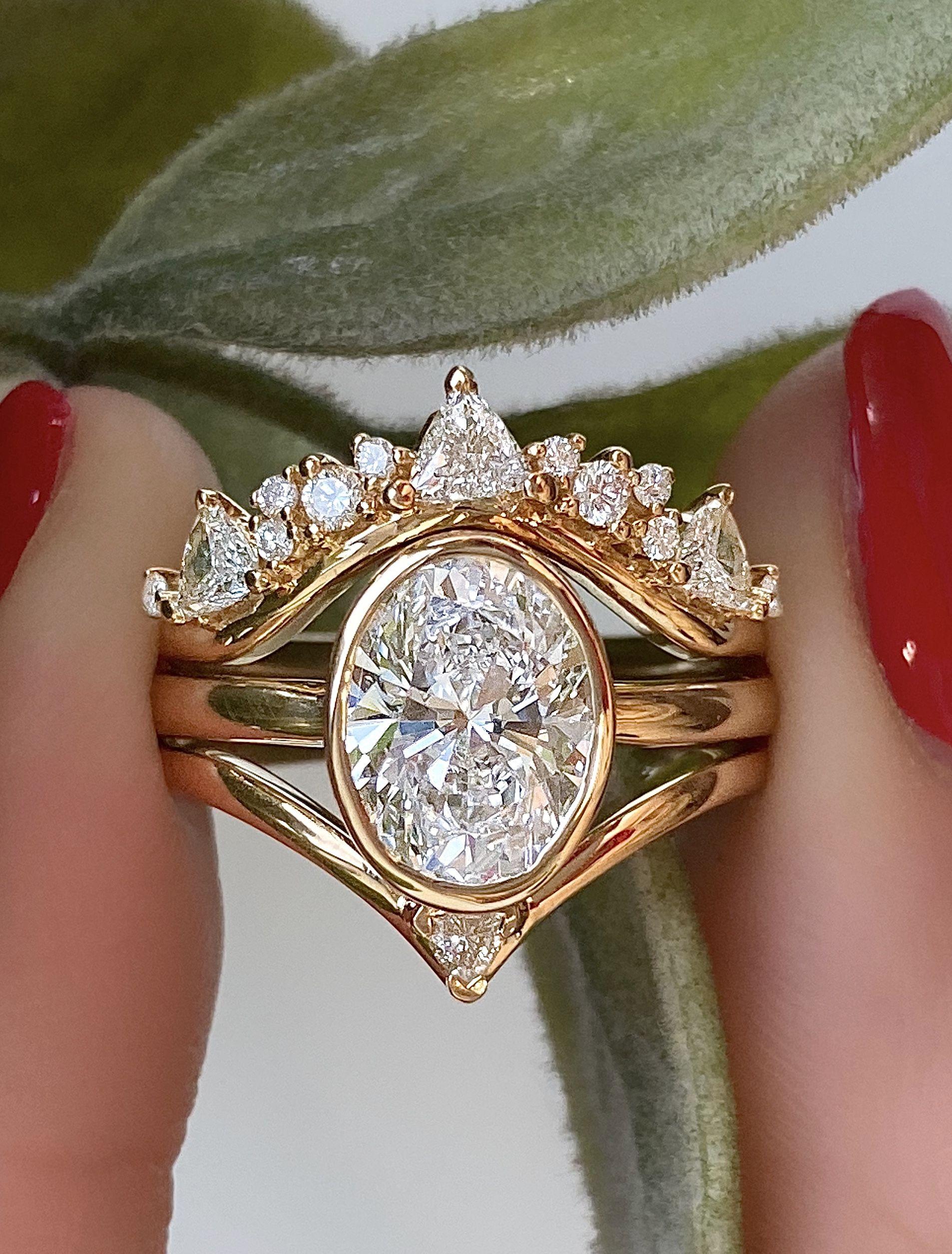Framed Rose Gold Wedding Ring Set Bezel Set Engagement Ring Stacked Engagement Ring Unique Gold Engagement Rings