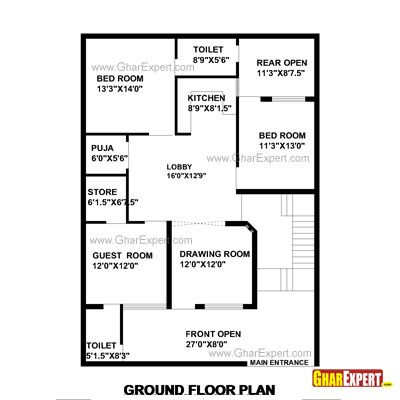 House Plan For 35 Feet By 48 Plot Size 187 Square Yards Gharexpert Com