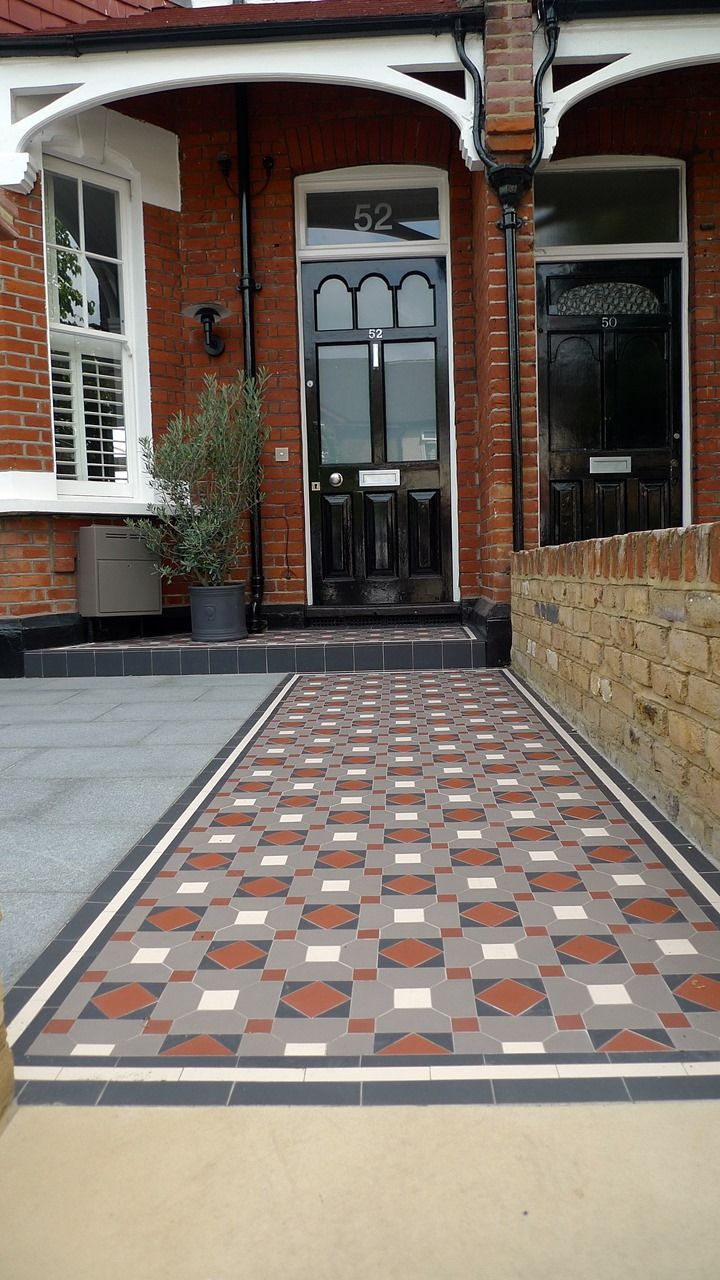 Victorian mosaic tile path and porch wimbledon front gardens victorian mosaic tile path and porch wimbledon dailygadgetfo Choice Image