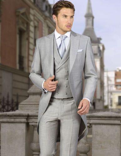 Retro British 5 Pieces Light Gray Wedding Suit Long Tuxedo Tailcoat ...