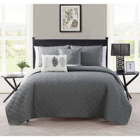 Vcny Home Hayden Two-Tone Geometric Embroidered Reversible 5-Piece Bedding Quilt Set, Decorative Pillows Included, Gray