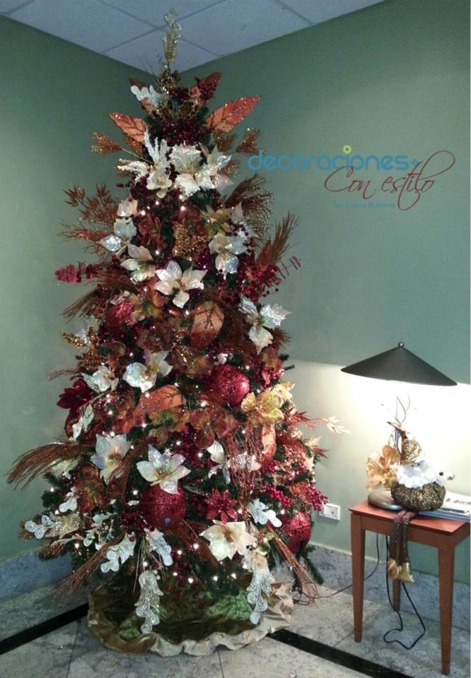 Rbol de navidad decorado en color bronce beige y dorado - Arbol de navidad decorado ...