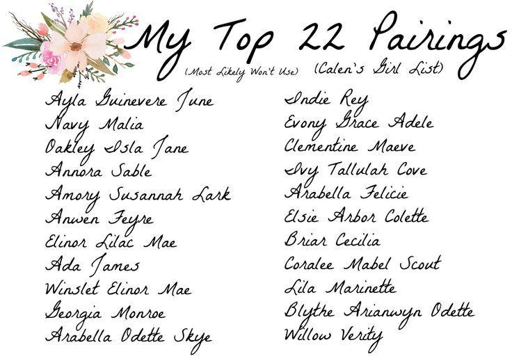 Calen S Top 22 Paarungen Madchen Charmingbabynamen