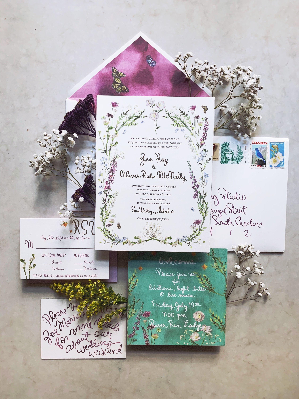Custom Watercolor Wedding Invitations Wildflower Painted