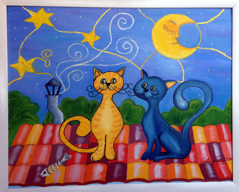 Gatos en el tejado oleo mis cuadros pintados pinterest - Dibujos de tejados ...