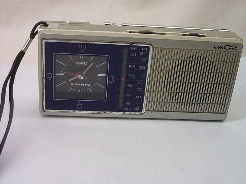 Vintage SANYO RPM-C2 Clock AM / FM Transistor Radio | Vintage Radios