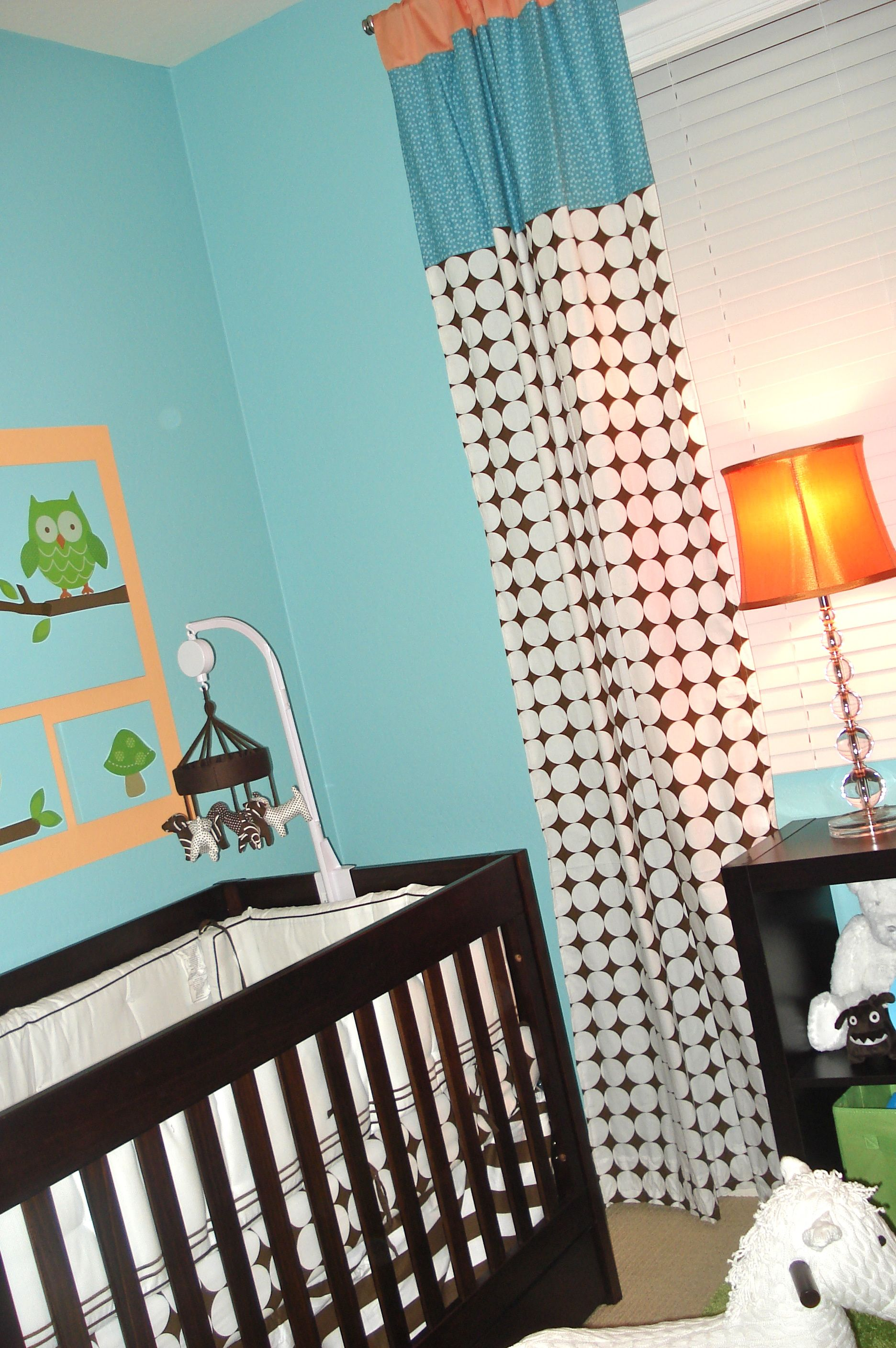 Nursery window ideas  owl themed nursery  owl window treatments and the oujays