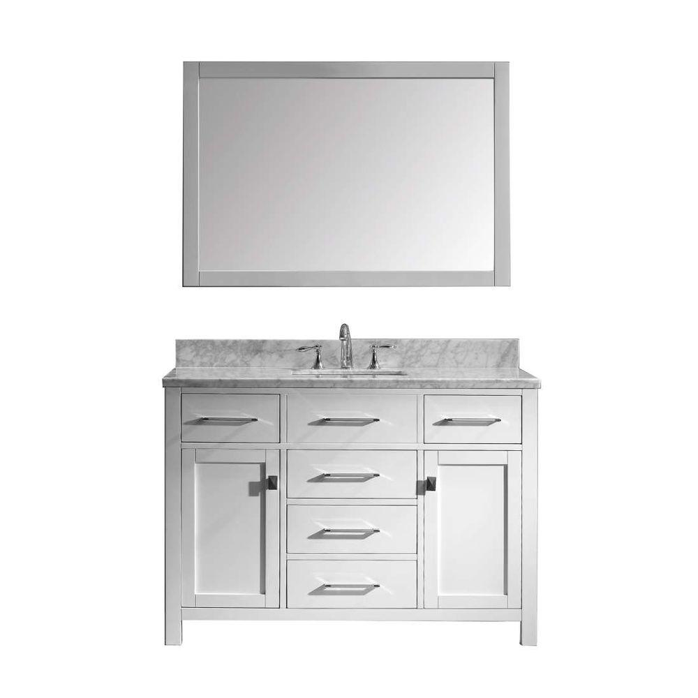 Virtu Usa Caroline 49 In W Bath Vanity In White With Marble
