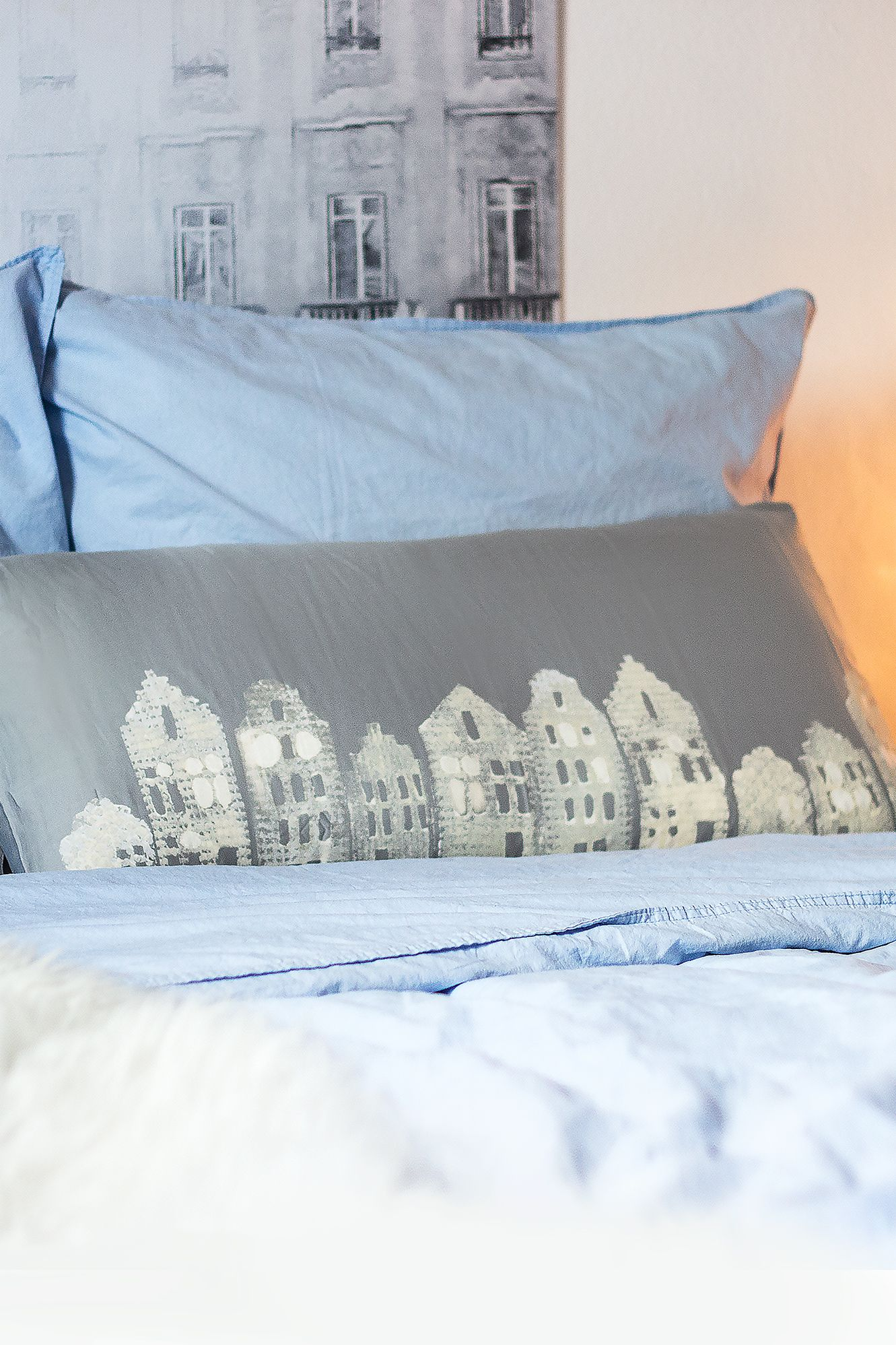Kissen Selber Bedrucken, Kissen Bleichen, Kissen Winterlich, DIY Häuschen,  Häuschen Kulisse,