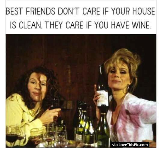 Best Friends Dont Care If Your House Is Clean They Care If You Have Wine Sjove Citater Sjove Storbritannien