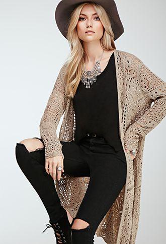 f8539429e38 Longline Crochet Cardigan
