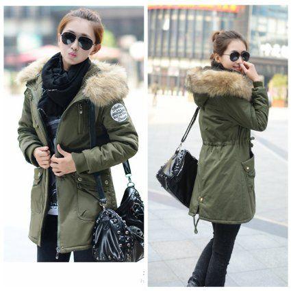 manteau femme parka militaire veste long blouson coton trenchcoat a capuche avec poches hoodies. Black Bedroom Furniture Sets. Home Design Ideas