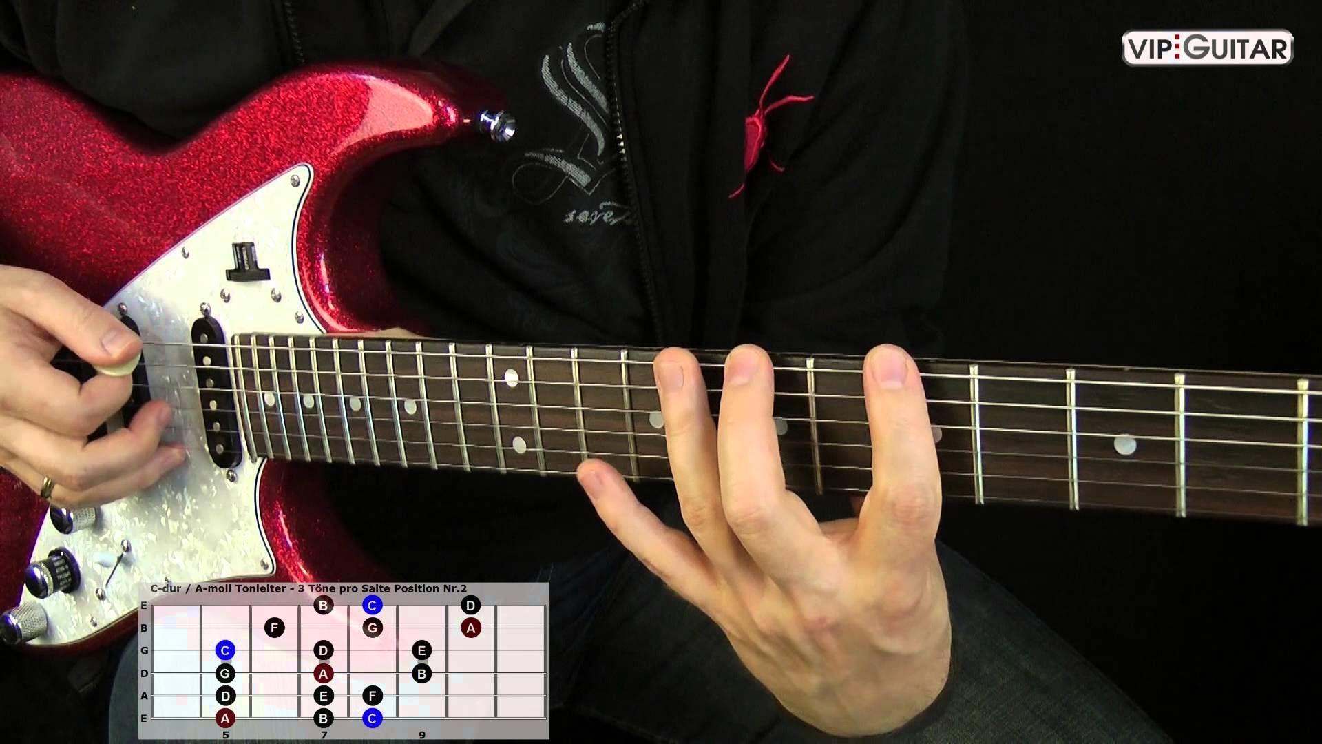 """""""C dur A moll Tonleiter Position Diese 7 Tonleitern sind mit den 5 Pentatonischen Tonleitern wichtigsten auf der Gitarre Speziell se Formen m"""