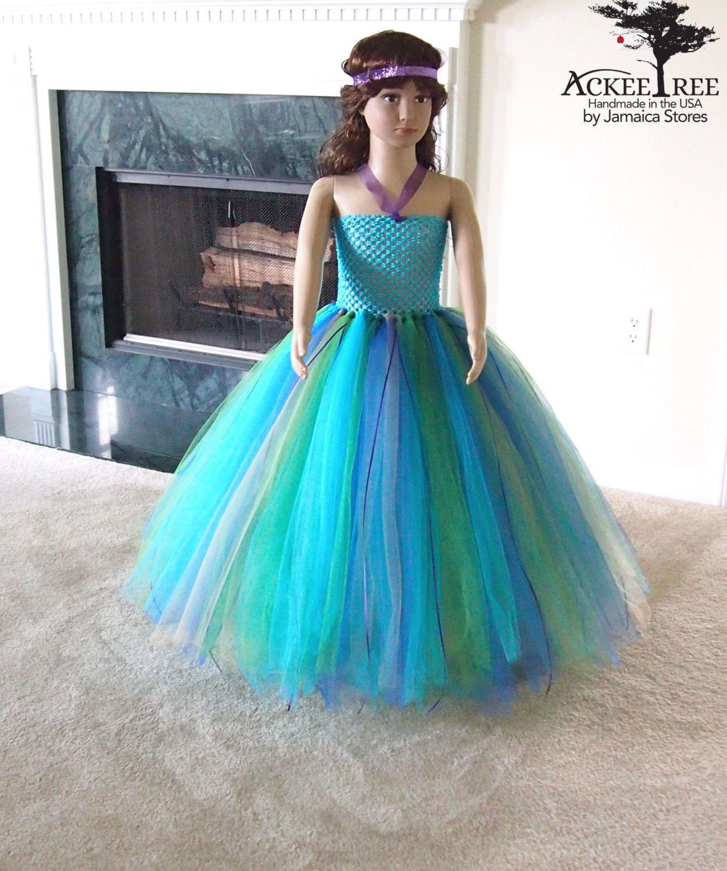 Peacock tutu dress, Flower Girl, Wedding dress, Girls tutu, Birthday ...