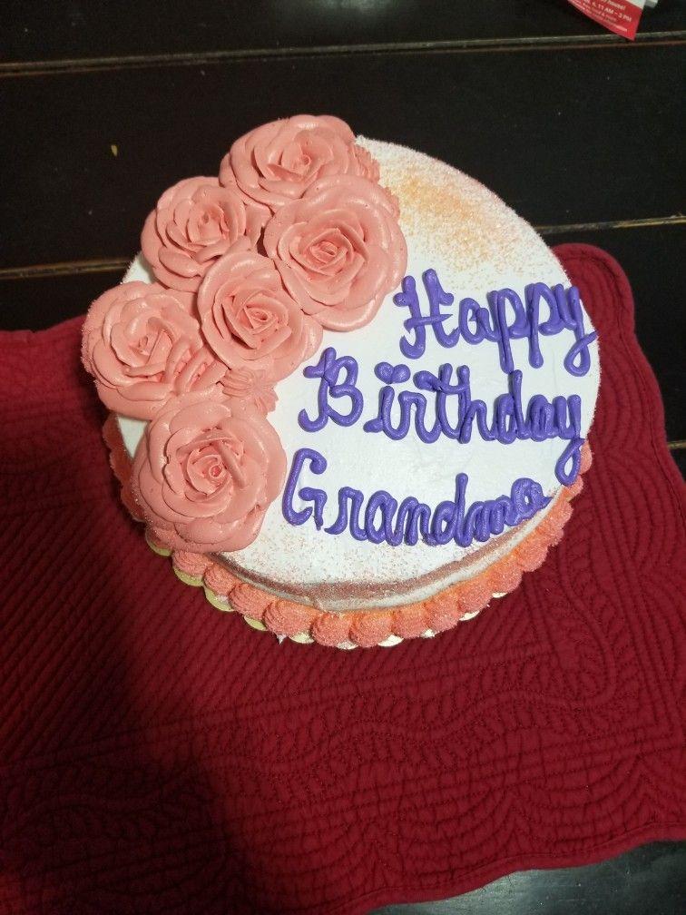Phenomenal Birthday Cake For Grandma White Cake Whippy Frosting Triple Personalised Birthday Cards Akebfashionlily Jamesorg