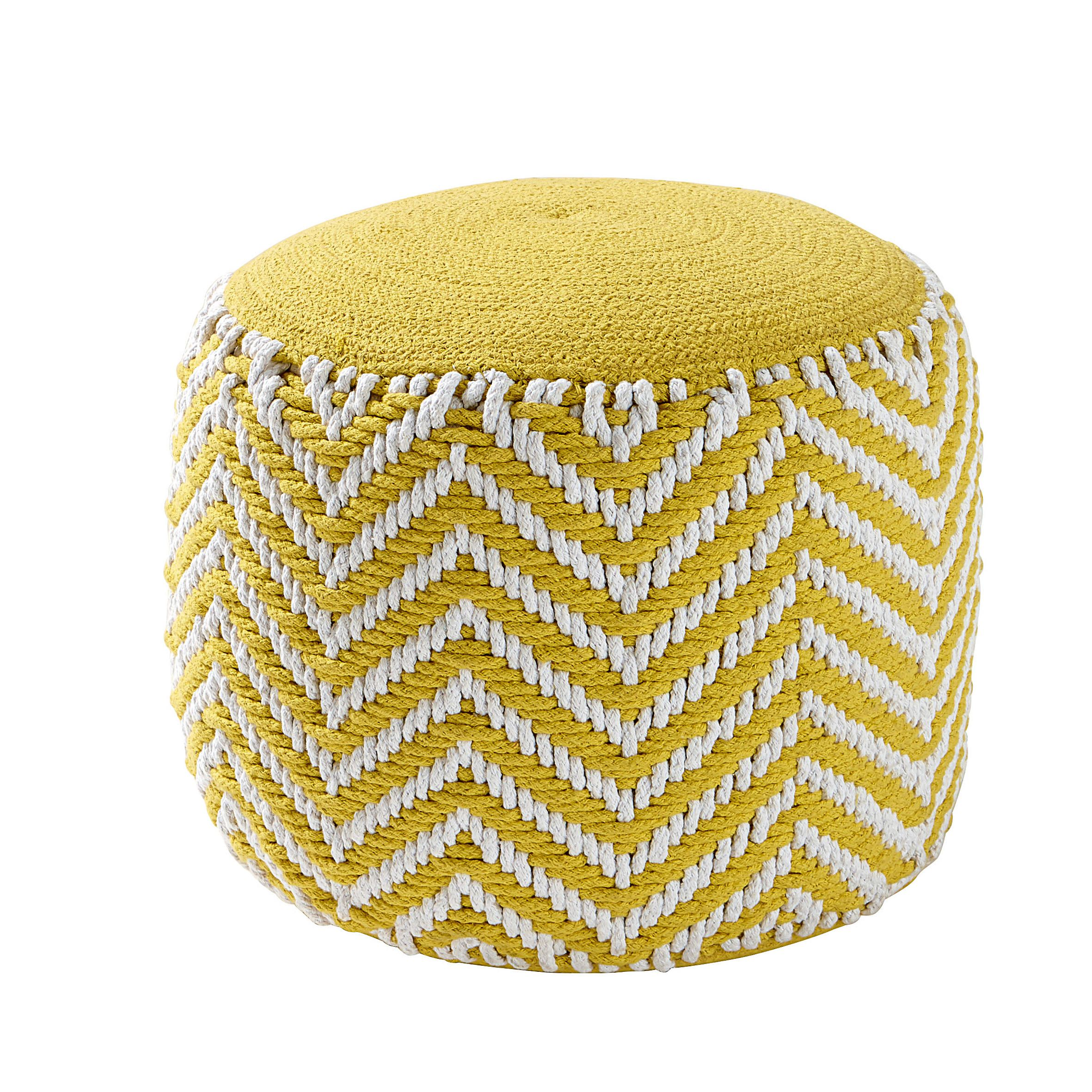 pouf rond tress en coton jaune alix s jour salon. Black Bedroom Furniture Sets. Home Design Ideas