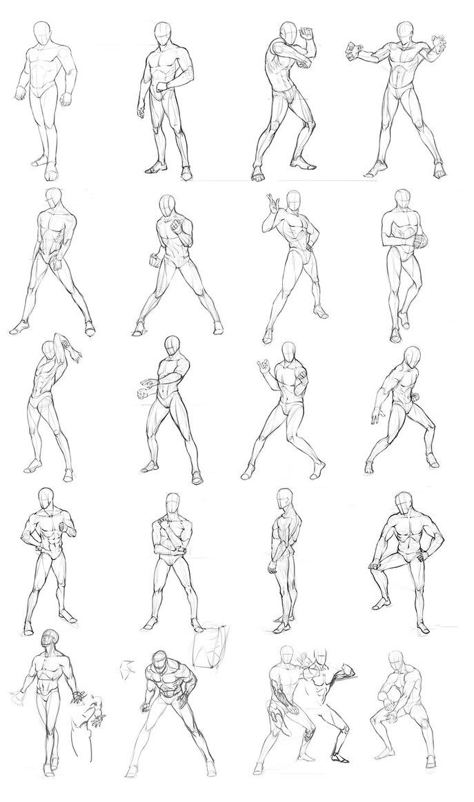Male poses chart 01 by theoneg on deviantart
