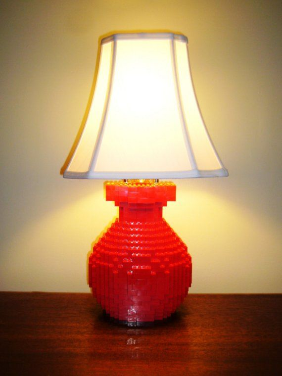 Modern Brick Table Lamp Fully Glued Made To Order With Free Etsy Lego Lamp Lamp Table Lamp