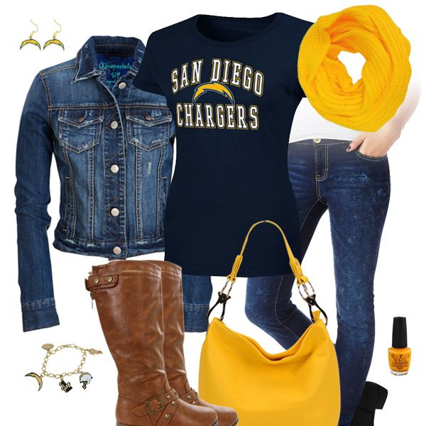 92f28445 San Diego Chargers Jean Jacket Outfit | San Diego Chargers Fashion ...