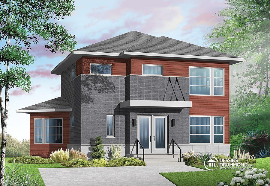 Plan de maison unifamiliale w3717 jolie maison contepmoraine avec int rieur original grand - Plan de maison original ...