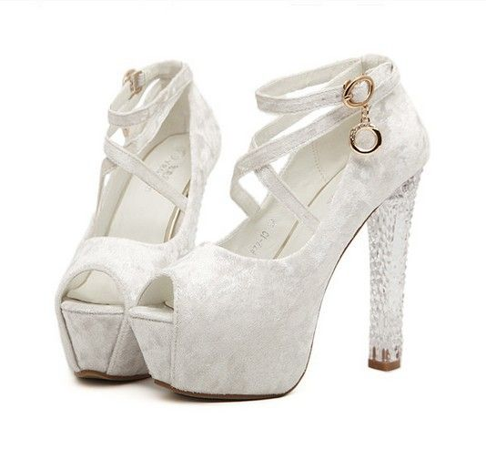 Thick Heel Pumps Silver Ankle Strap Heels Open Toe Strappy Sandals ...