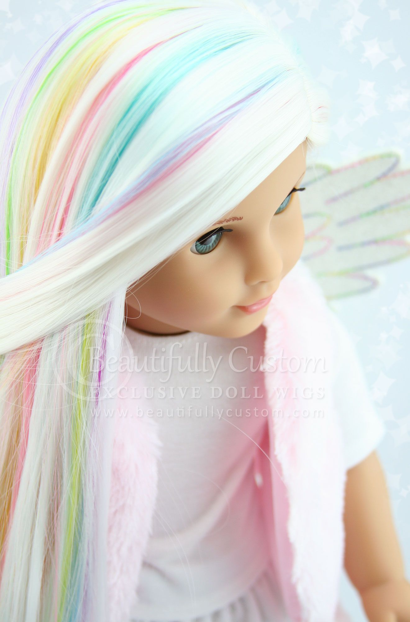 Unicorn Pastel White Rainbow Highlights Luxury Doll Wig ...