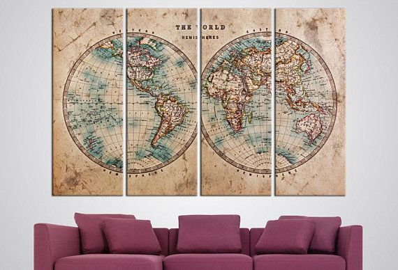 Old world map hemispheres map large canvas print wall hanging old world map hemispheres map large canvas print wall hanging detailed world map office decor living room wall art atlas big framed poster living room gumiabroncs Images