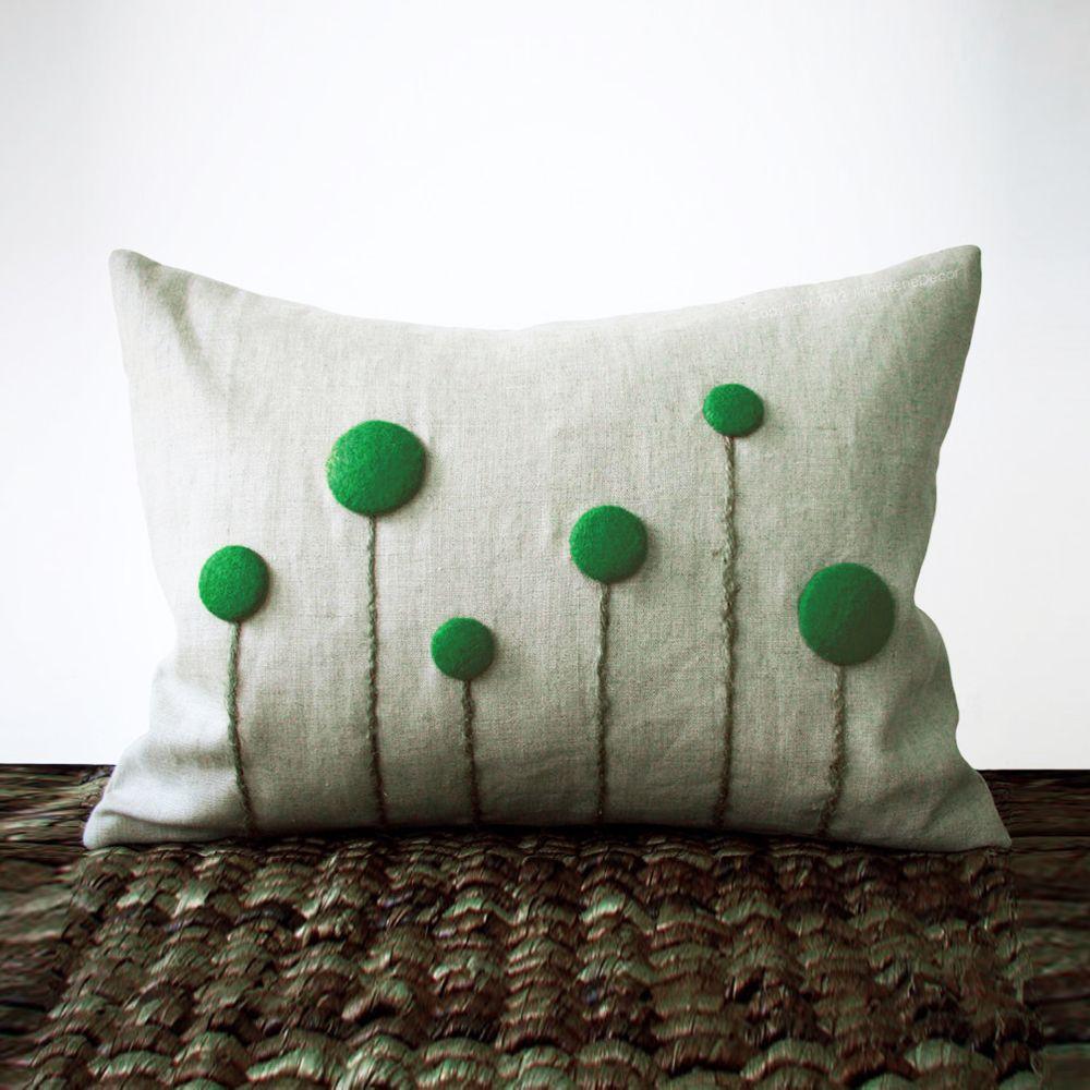 Emerald Billy Ball Flower Pillow   dotandbo.com