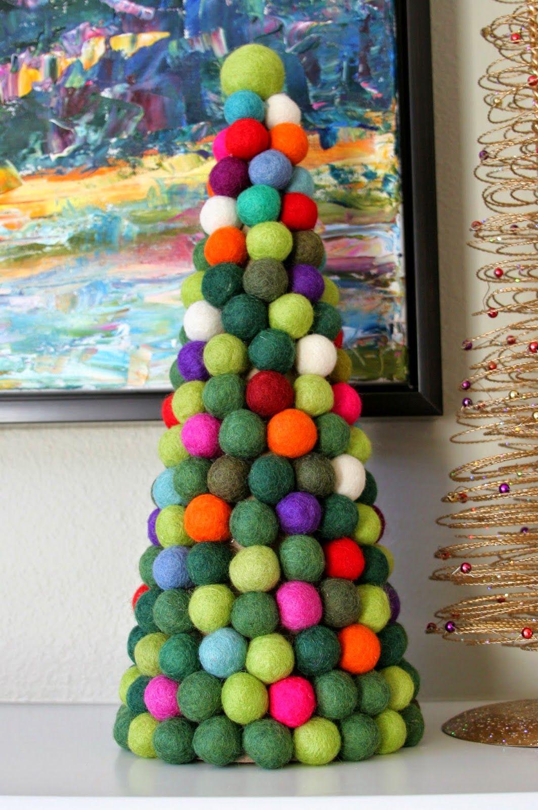 Without A Doubt A Pinterest Christmas Felt Ball Christmas Tree Felt Ball Crafts Recycled Christmas Tree Felt Christmas Decorations
