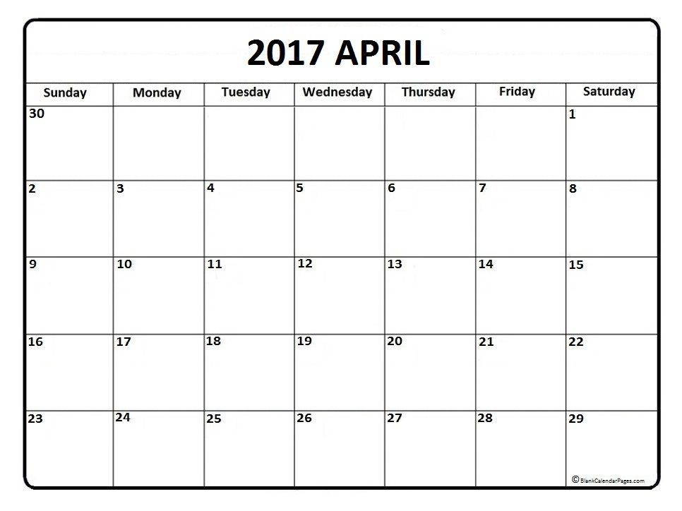 April Calendar  Printable And Free Blank Calendar  Printable