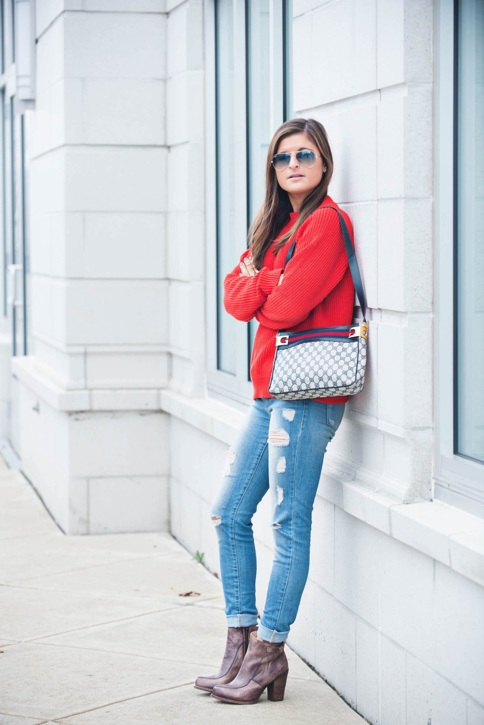 ca346be60 Right On Red | red knit sweater, ripped jeans, ankle boots, Gucci bag, fall  fashion, fall outfit ideas, fall casual outfit, street style, fashion  blogger To ...