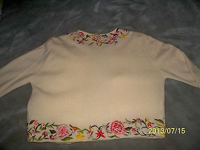 50's Custom Dalton Cashmere Sweater Hand Embroidered Colorful Flowers Hook Eye | eBay