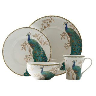 222 Fifth Peacock Garden 16-piece Dinnerware Set | Overstock.com Shopping - Great Deals on 222 Fifth Casual Dinnerware  sc 1 st  Pinterest & 222 Fifth Peacock Garden 16-piece Dinnerware Set | Overstock.com ...