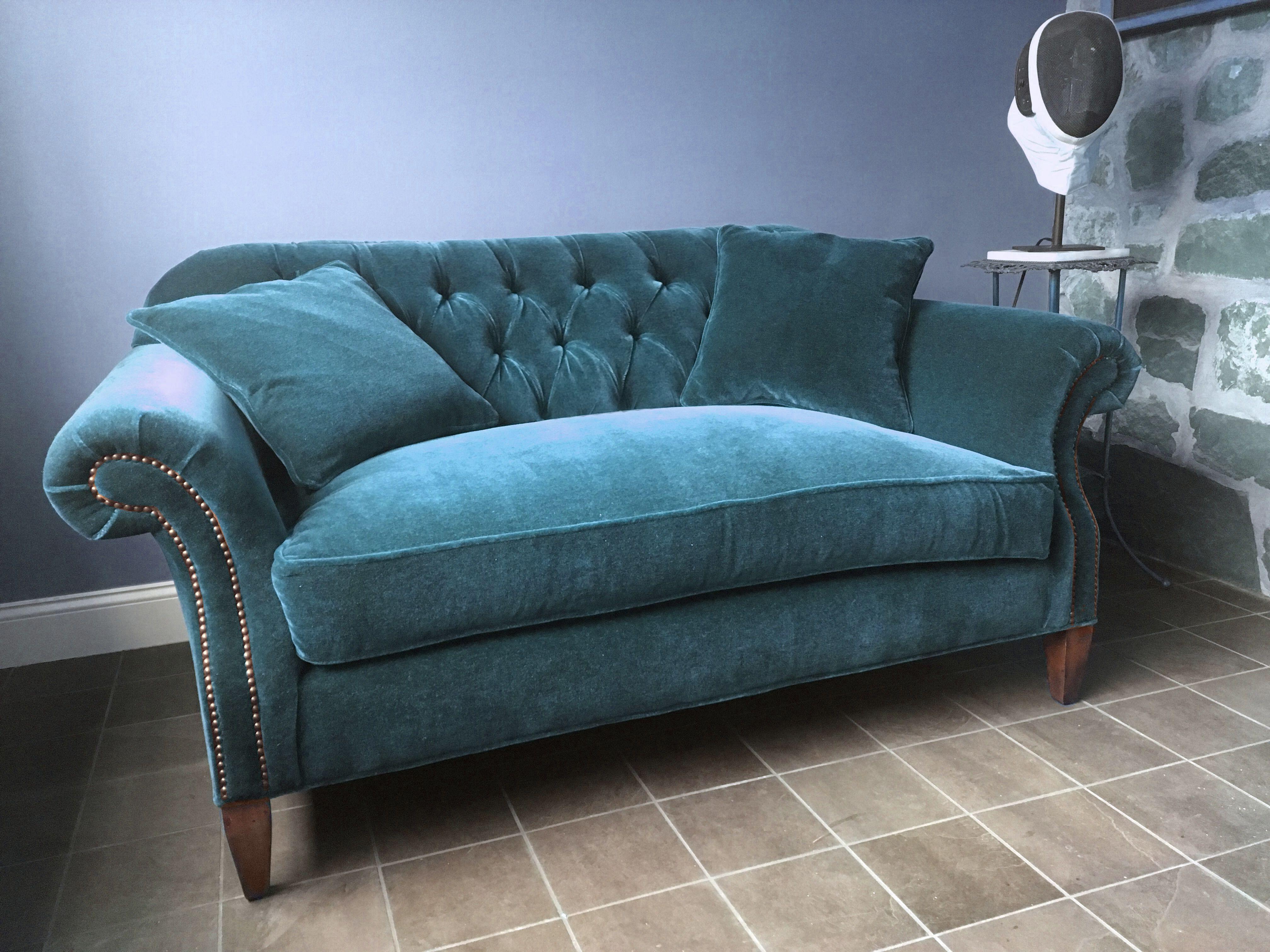 The Of Iron And Oak Whitman Loveseat Upholstered In Mohair Velvet American Made Furniture