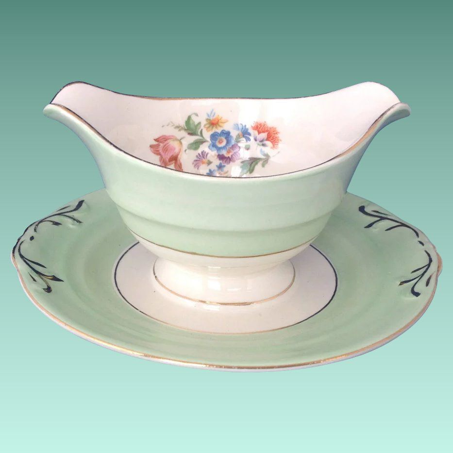 Crown Potteries Usa Mint Green Gravy