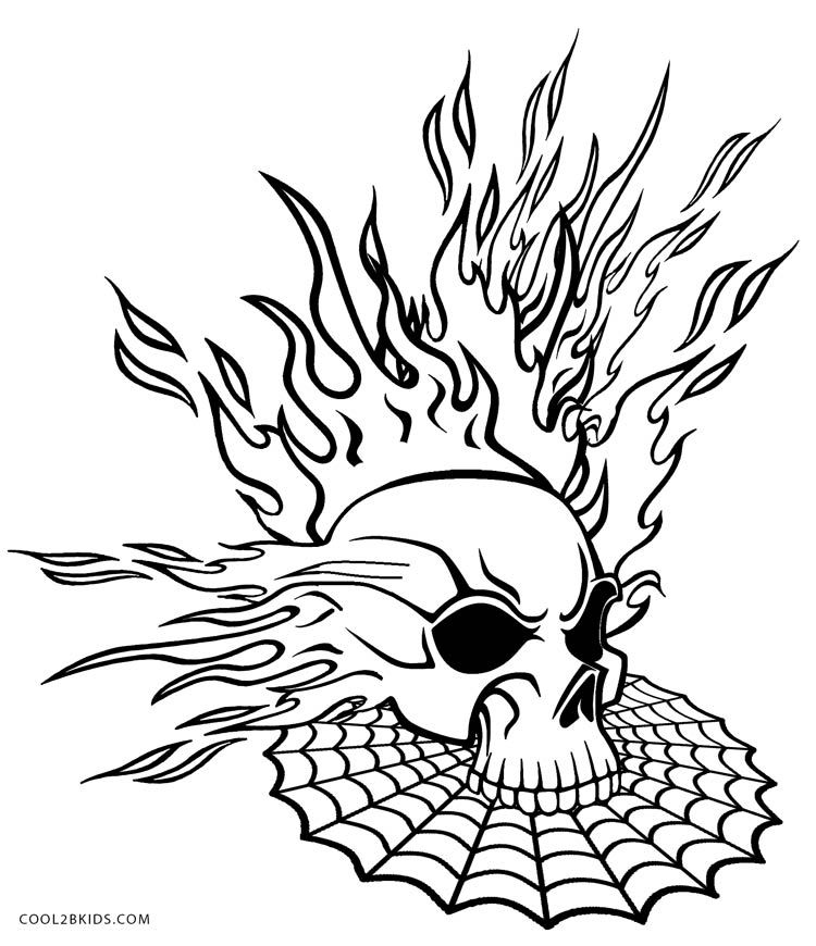 Flaming Skull Coloring Pages | Halloween | Pinterest | Adult ...