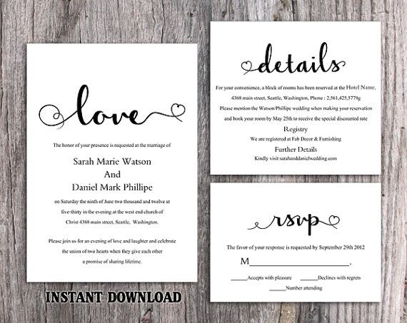 DIY Wedding Invitation Template Set Editable Word File Download Printable Black White Elegant