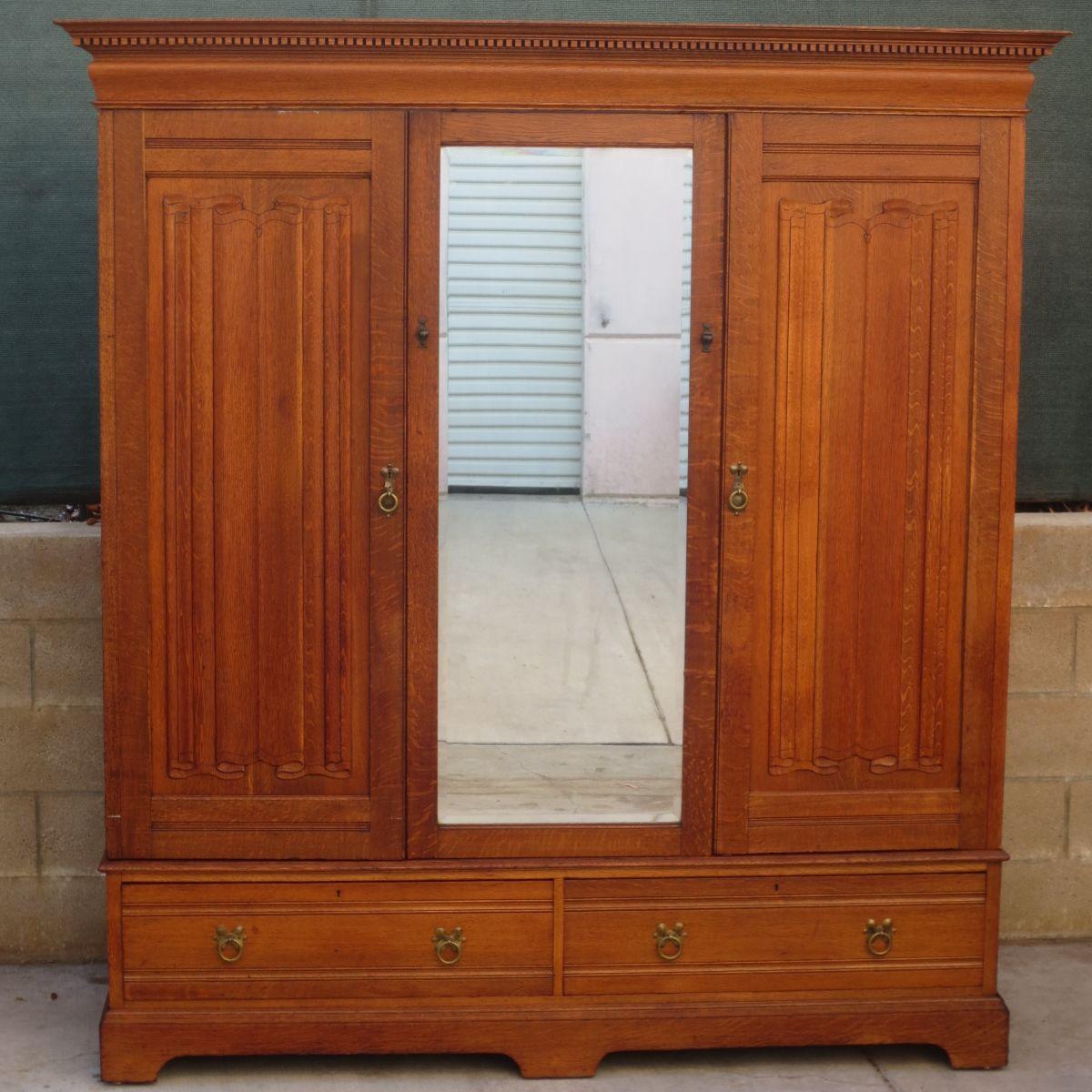 Antique Armoires and Antique Wardrobes - Antique Armoire Antique Wardrobe Antique Furniture Linen Fold