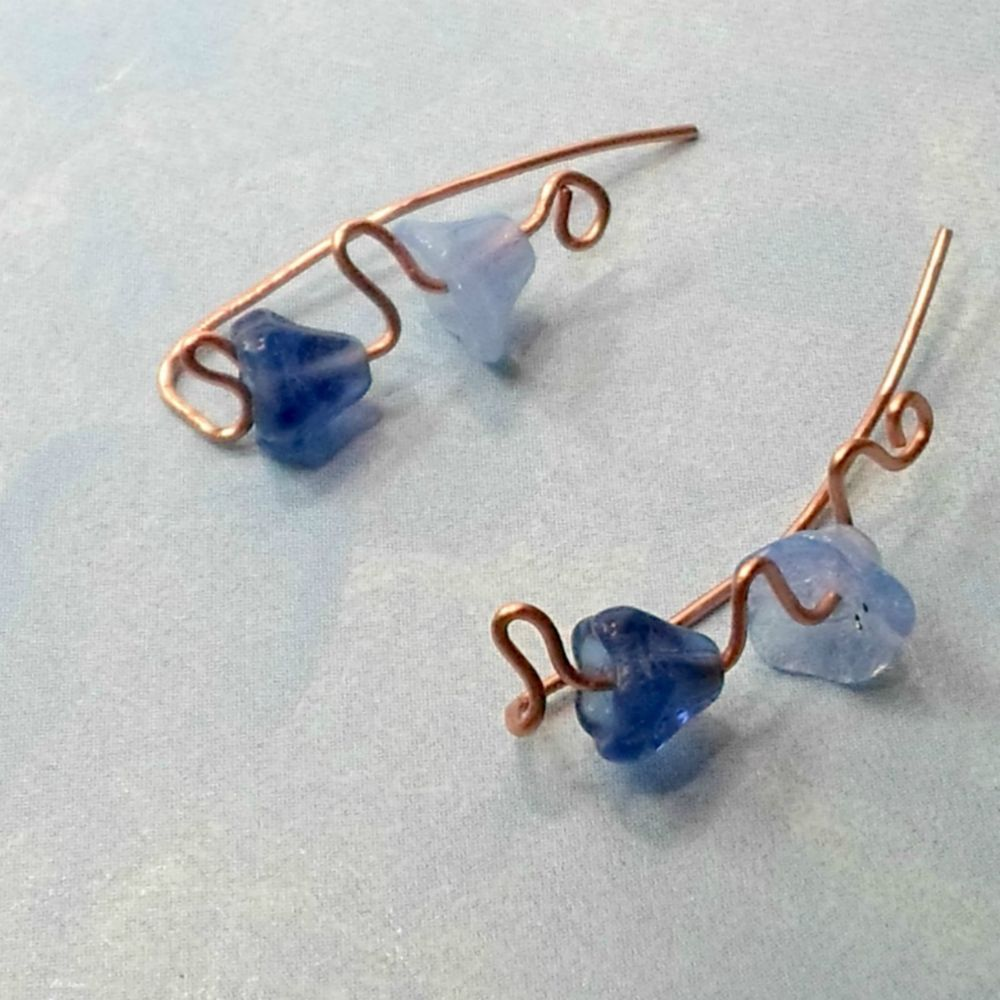 Climber earrings handmade blue bell beads on copper wire tiny dainty ...