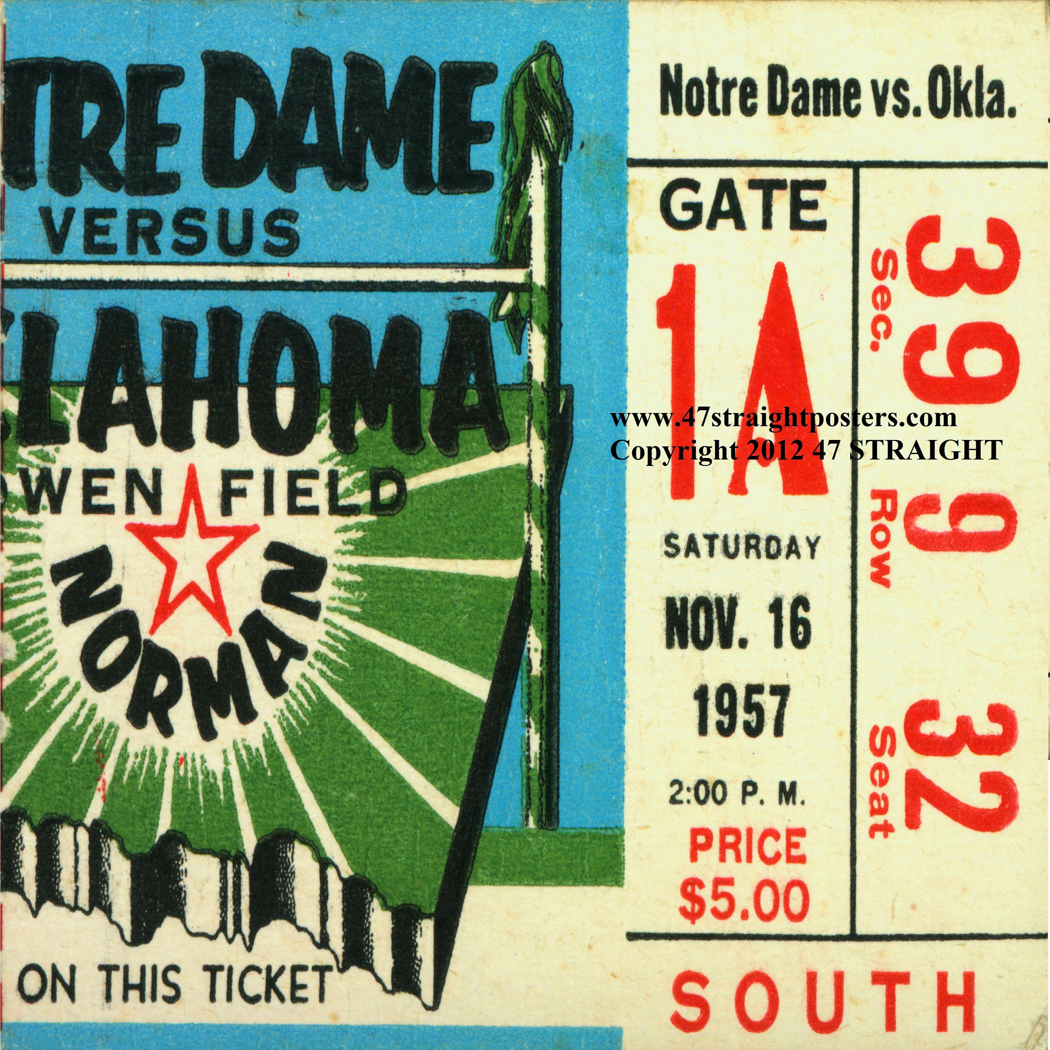 1957 Oklahoma vs. Notre Dame football ticket. Notre Dame snapped ...