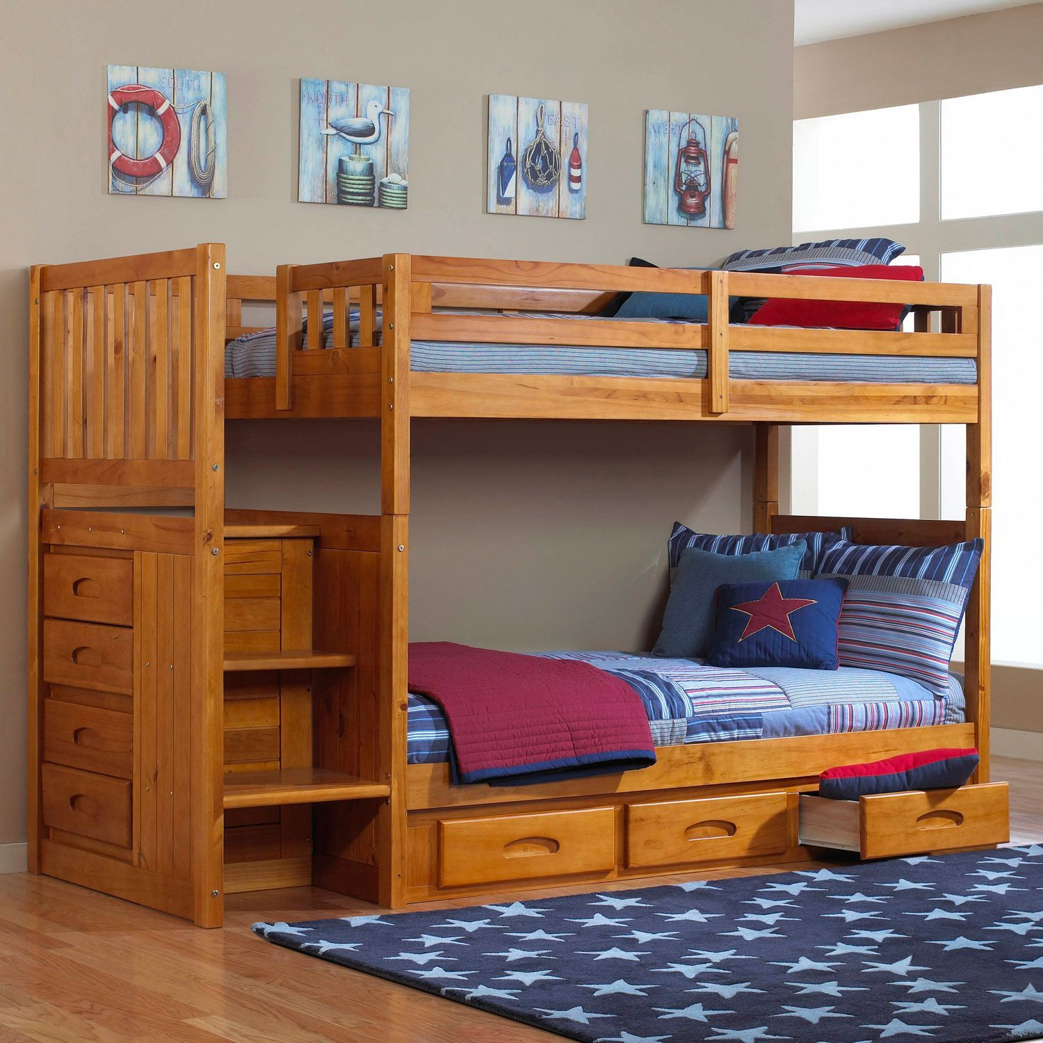 Staircase Bunk Bed Honey Finish Sam S Club Boys Room