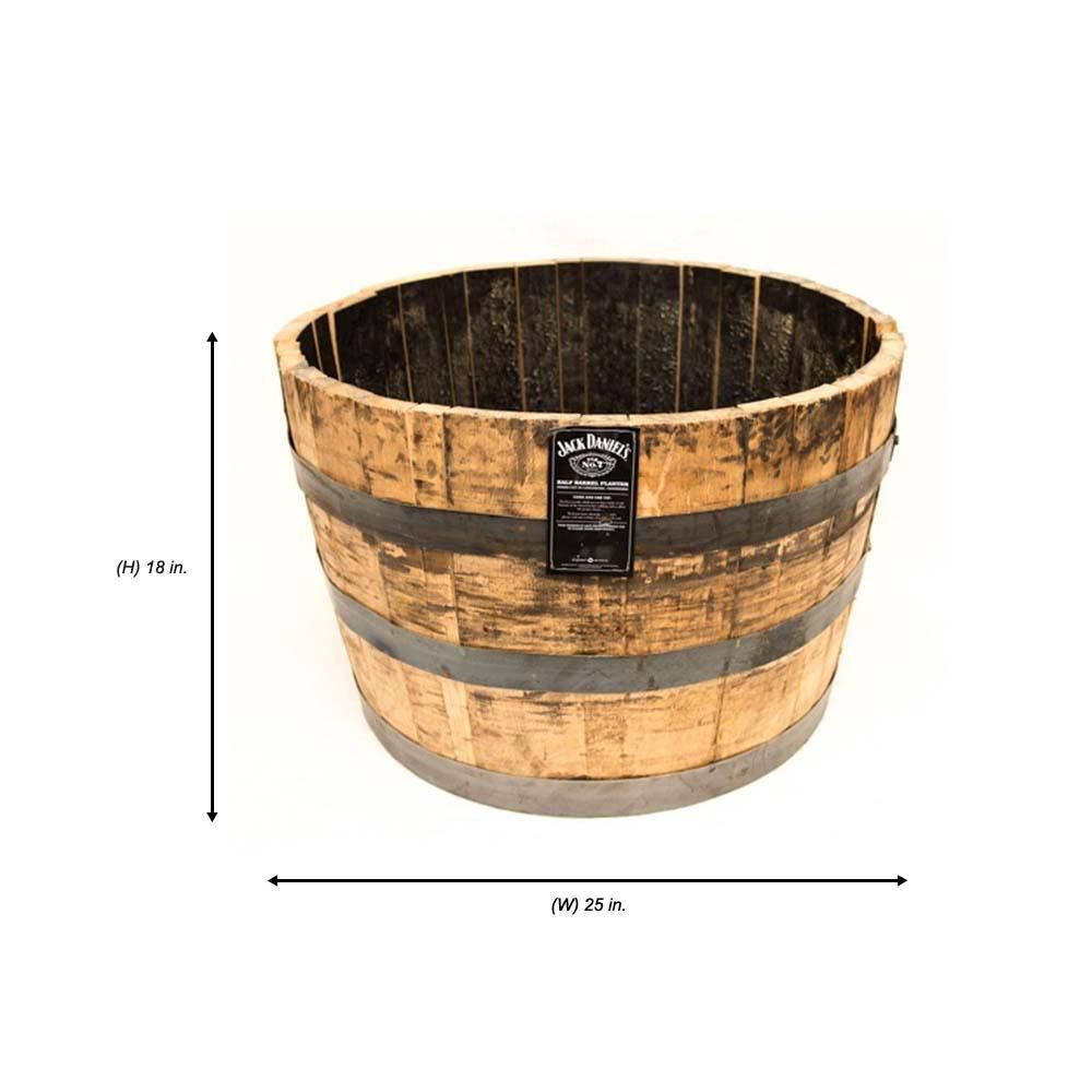 25 In Dia Oak Wood Whiskey Barrel Planter B100 The Home Depot Whiskey Barrel Planter Barrel Planter Whiskey Barrel